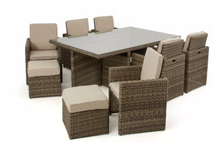 Outdoor dining seating for 10 people in a space saving cube design from Gardenbox