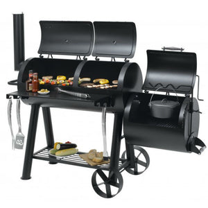 Two chambers & side smoker on the Tepro Indianapolis Heavy Duty BBQ Smoker