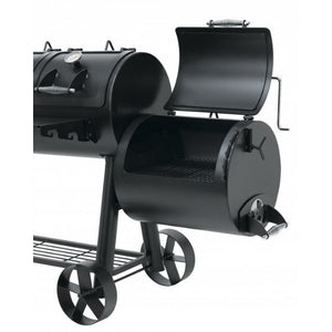 Fully open side smoker on the Indianapolis BBQ Smoker
