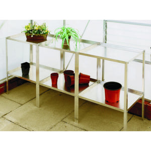 "18"" Wide Aluminium Greenhouse Staging - Choice of Bay Sizes, Double Tier, Choice of Colours - Gardenbox"
