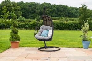 Amalfi Contemporary Metal Frame Hanging Chair by Maze Rattan - Gardenbox