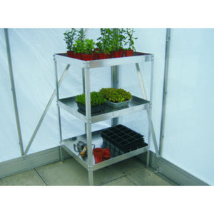 "23"" Wide Aluminium Greenhouse Modular Staging - Choice of Bay Sizes, Double or Triple Tier, Choice of Colours - Gardenbox"