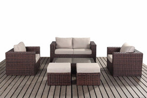 Dark Brown Rattan Small Sofa Set | Falmouth Range - Gardenbox