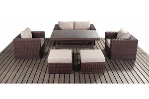 Dark Brown Rattan Small Dining Sofa Set | Falmouth Range - Gardenbox