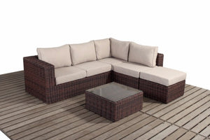 Dark Brown Rattan Small Corner Sofa Set | Falmouth Range - Gardenbox
