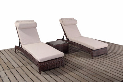 Two Dark Brown Rattan Garden Sun Loungers Falmouth Range Gardenbox