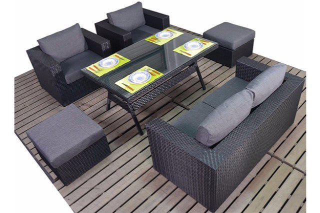 Black Rattan Small Dining Garden Sofa Set 6 Seater