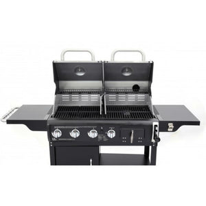 Tepro Buffalo Gas & Charcoal Dual Fuel BBQ lids open