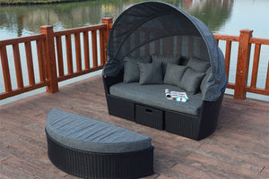 Black Rattan Large Garden Day Bed | Apache Range - Gardenbox