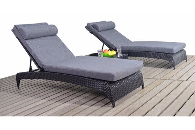Two Black Rattan Garden Sun Loungers Charcoal Cushions Gardenbox