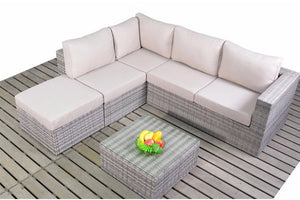 Left sided Multi Tonal Grey Rattan Small Corner Sofa set with beige cushions from Gardenbox