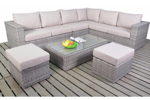 Right sided multi tonal grey Rattan Large Corner Sofa set with beige cushions from Gardenbox