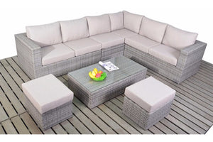 Right or left sided Large Corner Grey Rattan Sofa set with coffee table