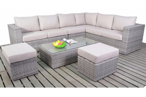 Large Corner Sofa with two footstools in grey rattan weave with beige cushions by Gardenbox