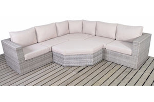 Luxury Day Bed style cushion tucks into the corner of the Grey Rattan Angle Corner Garden Sofa set by Gardenbox