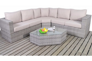 Grey Rattan Angle Corner sofa with thick beige cushions from Gardenbox