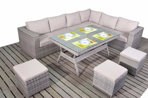 Right sided grey rattan corner dining furniture set with thick beige cushions by Gardenbox