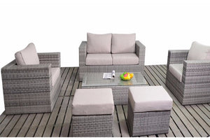 Two seater sofa and two chairs with two footstools in grey rattan with beige cushions by Gardenbox