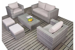 Grey Rattan Small Sofa set with two footstools in Grey Rattan with beige cushions by Gardenbox