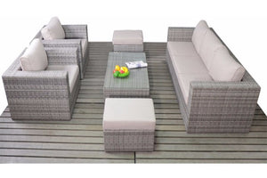 Outdoor seating for 7 adults on this grey rattan large sofa set with glass topped coffee table by Gardenbox