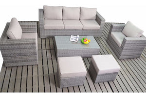 Great value large garden sofa set in grey rattan with beige cushions delivered for FREE by Gardenbox