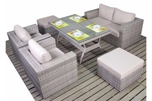 Grey Rattan Small Dining sofa set with beige cushions by Gardenbox