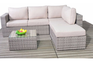 Choose which side you require to fit this Grey Rattan Small Corner Sofa set with Beige Cushions into