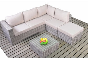 Right sided multi tonal grey Rattan Small Corner Sofa set with beige cushions from Gardenbox