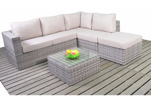 Left or right sided grey rattan corner sofa with coffee table from Gardenbox
