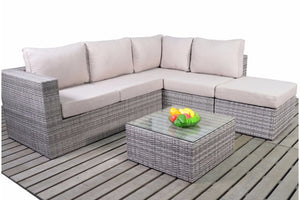Seating for up to 5 adults in luxury on the grey rattan small corner sofa set from Gardenbox