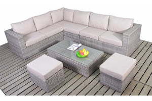 Rustic Grey Rattan Large Corner Sofa set by Gardenbox