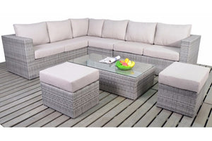 Left sided Multi Tonal Grey Rattan Large Corner Sofa set with beige cushions from Gardenbox