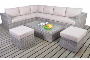 Grey rattan large corner sofa with beige cushions and glass top coffee table by Gardenbox