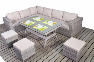 Left sided grey rattan corner dining furniture set with thick beige cushions by Gardenbox