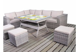 Relax with your feet up on the three footstools included in the grey rattan corner dining furniture set by Gardenbox