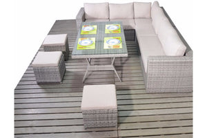 Right or left sided Large Corner Grey Rattan Dining Sofa set from Gardenbox