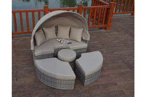 Rustic Grey Rattan Large Daybed with beige cushions and sun canopy by Gardenbox.co.uk