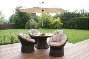 Swivel 4 Seat Round Dining Set by Maze Rattan - Gardenbox