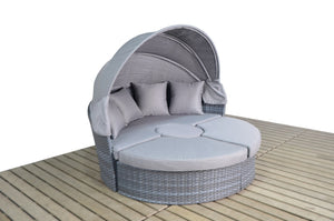 Grey Rattan Large Outdoor Day Bed | Vantage Range - Gardenbox