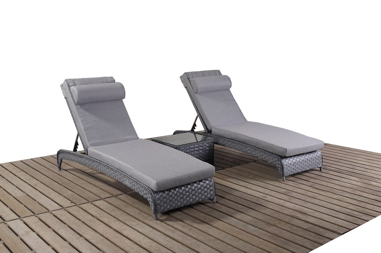 grey rattan pair of garden sun loungers. Black Bedroom Furniture Sets. Home Design Ideas