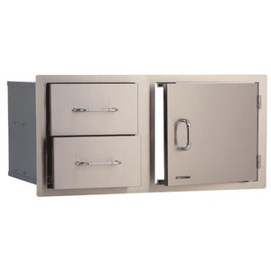Extra Large Door & Drawer Built In BBQ Combination Cupboard in Stainless Steel