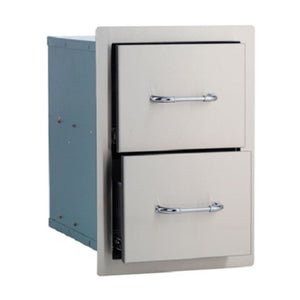 Double Drawer Built In BBQ Component in Stainless Steel by Bull BBQ - Gardenbox
