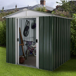 Metal Garden Shed 6ft Wide by 4ft Deep in Green 65GEYZ by Yardmaster - Gardenbox
