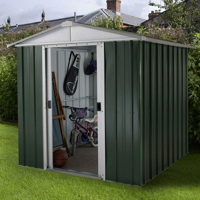 metal garden shed 6ft wide by 7ft deep in green 67geyz by yardmaster gardenbox
