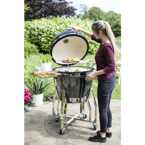 Kamado Charcoal Barbecue XL Ceramic Egg in Gunmetal by La Hacienda - Gardenbox