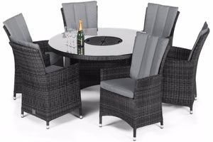 LA 6 Seat Round Dining Set with Ice Bucket by Maze Rattan - Gardenbox
