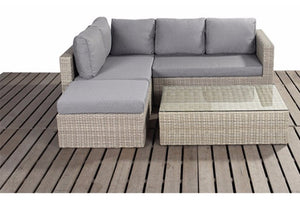 Natural Wicker Style Rattan Small Corner Sofa Set by Gardenbox