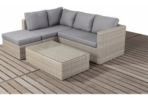 Natural Wicker Style Rattan Small Corner Sofa Set with Mixed Grey cushions by Gardenbox