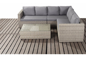 Natural Wicker Style Rattan Large Corner Sofa Set with Mixed Grey Cushions by Gardenbox