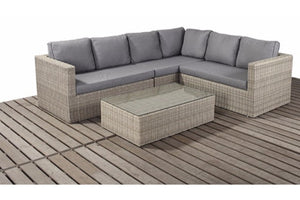Left or right sided natural wicker style rattan large corner sofa with coffee table from Gardenbox